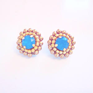 Calibian blue & Matt Golden Earrings & Pierece