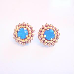 Calibian blue & Matt Golden Earrings & Pierece