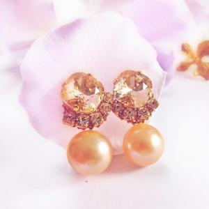 Elegant pink Beige & Pearl Pierce