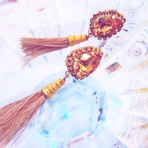 Rich Beige Fringe Earrings/ Pierrce