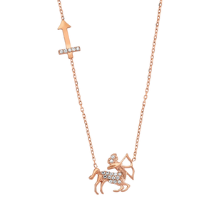 Rose Gold 925 Zodiac Necklace Sagittarius / いて座