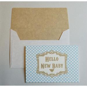 ミニグリーティングカード(封筒付き)・出産祝い(水色)