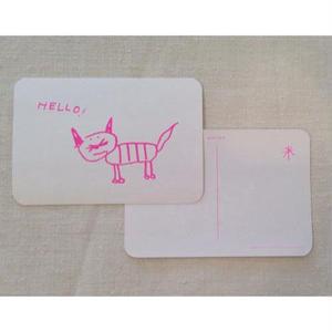 オリジナルポストカードUGネコ 蛍光ピンク・2枚