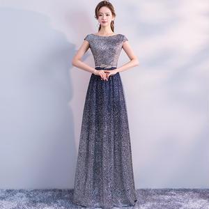バックオープンデザインキラキラロングドレス
