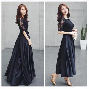 20代30代 ウエストリボンが可愛い上品なローズ柄レース切り替えロングドレス