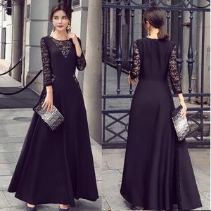 パーティードレス 結婚式 二次会 ワンピース 結婚式ドレス お呼ばれワンピース お呼ばれドレス 20代 30代 40代 袖あり マキシ 黒