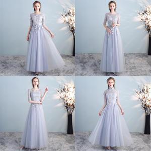 20代 清楚で可愛いフラワー刺繍パステルシフォンロングドレス