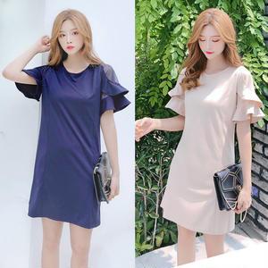 20代 シンプルで大人可愛いボリュームフリル袖ミニ丈ドレス