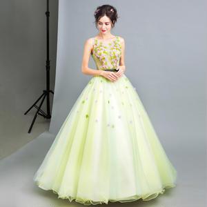 20代 春夏にピッタリ爽やかで可愛い立体花のシフォンプリンセスドレス