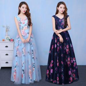 20代 華やかなフラワープリントが可愛いロング丈ドレス
