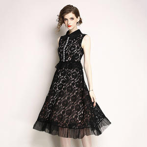 フラワーレース&裾とウエストのフリル&ビジューがエレガントなミモレ丈Aラインパーティードレス