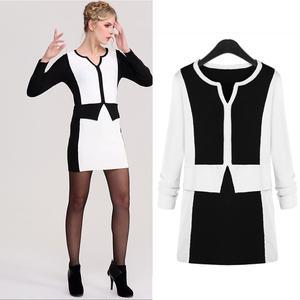 20代 スタイリッシュなモノトーンミニ丈ドレス