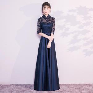 20代 チャイナドレス風ロング丈ストレートドレス