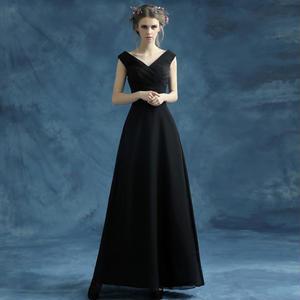 ノースリーブVネックシックロングドレス