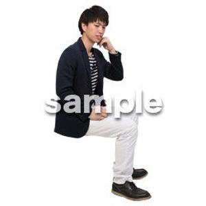 Cutout People 座る 男性 LL_113