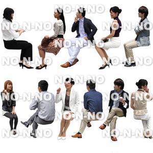 人物切抜きセット☆座る-おしゃれペア 1_set018