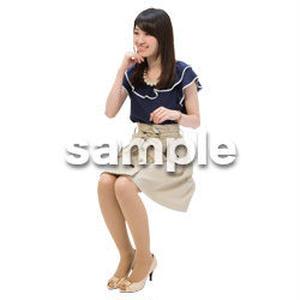 Cutout People 日本人-女性-座る BB_492