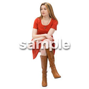 Cutout People 外国人-女性-座る BB_486
