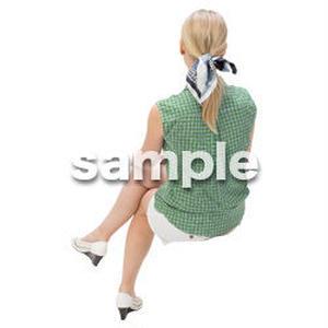 Cutout People 外国人-女性-座る BB_485