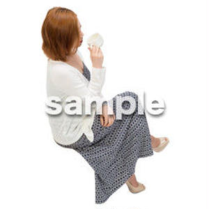 Cutout People 鳥瞰 座る女性  FF_493