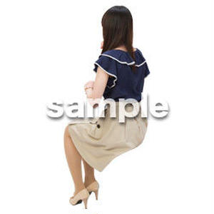 Cutout People 日本人-女性-座る BB_494