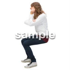 Cutout People 外国人-女性-座る BB_478