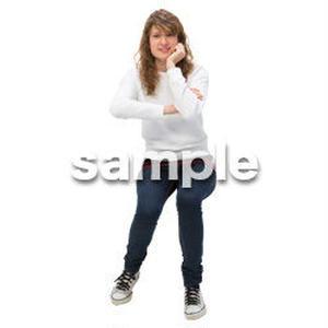 Cutout People 外国人-女性-座る BB_476