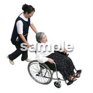 人物切抜き素材 医療・シニア車椅子編 D_289