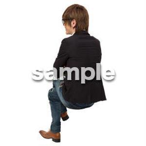 Cutout People 座る 男性 LL_140