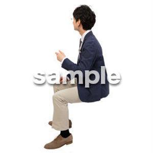 Cutout People 座る 男性 LL_098