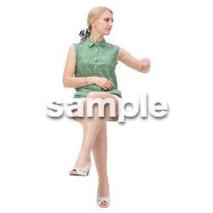 Cutout People 外国人-女性-座る BB_481
