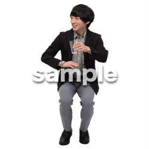 Cutout People 座る 男性 LL_146