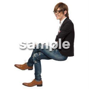 Cutout People 座る 男性 LL_138