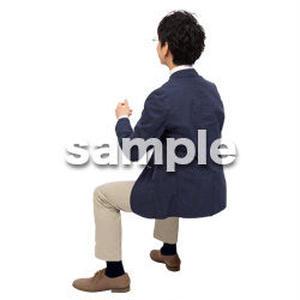 Cutout People 座る 男性 LL_099