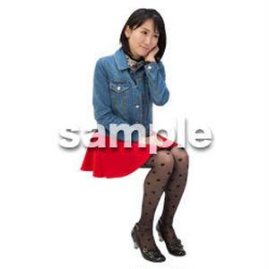 Cutout People 日本人-女性-座る BB_497