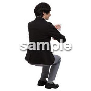 Cutout People 座る 男性 LL_149