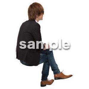 Cutout People 座る 男性 LL_139