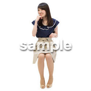 Cutout People 日本人-女性-座る BB_491