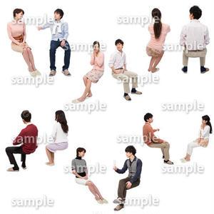 人物切抜きセット☆アットホーム 座る人 1_set146