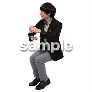 Cutout People 座る 男性 LL_147