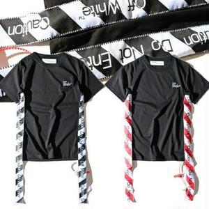 美品 オフホワイト半袖 Off-WhiteTシャツ ユニセックス シンプル ストライプ