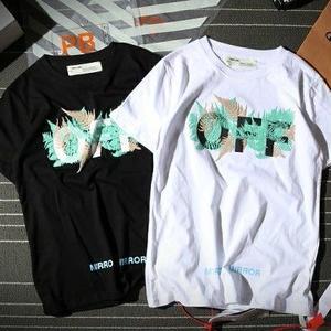 美品 オフホワイト半袖 Off-WhiteTシャツ ユニセックス シンプル ホワイトとブラック選択