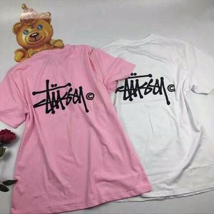 再入荷 ステューシーTシャツ STUSSYTシャツ ピンク ホワイト 男女兼用 シンプル ウィメンズファッション メンズファッション カップル