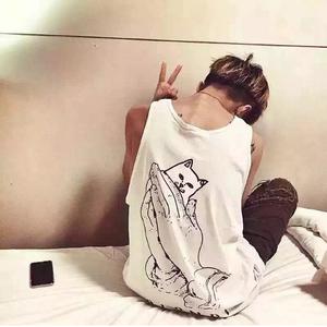 超可愛いタンクトップ 猫 ネコ 半袖Tシャツ お買い得!多色選択 萌え カジュアル シンプル ウィメンズファッション メンズファッション