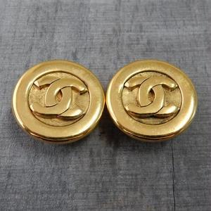 正規品 箱付き ヴィンテージ CHANEL シャネル ココマーク 28mm イヤリング ゴールド NO25(c-224)