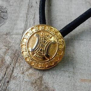 ヴィンテージ CELINE セリーヌ ボタン 15mm マカダム柄 ゴールドボタン ヘアゴムのおまけ付(ce-1)