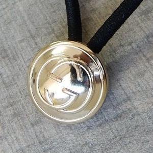 ヴィンテージ GUCCI グッチ GGボタン シルバーボタン  17mm ボタン ヘアゴムのおまけ付(g-3)