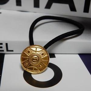ヴィンテージ CHANEL シャネル ココマーク 18mm タイプ2 ゴールドデザイン ボタン ヘアゴムのおまけ付(c-4)