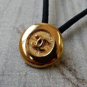ヴィンテージ CHANEL シャネル ボタン ココマーク 18mm ゴールド ヘアゴムのおまけ付(c-113)