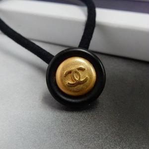 ヴィンテージ CHANEL シャネル ボタン ココマーク 14mm タイプ10 ブラック×ゴールド ヘアゴムのおまけ付(c-100)